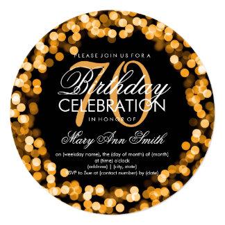 Elegant 70th Birthday Sparkling Lights Gold 13 Cm X 13 Cm Square Invitation Card