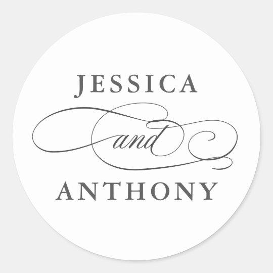 Elegant Affair with Couple's Names Classic Round Sticker