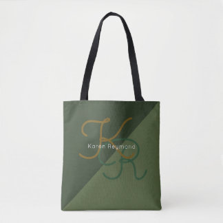 elegant all-over-printed 2-tone green monogrammed tote bag