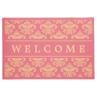 Elegant and Chic Baby Pink Damask Welcome Home Doormat
