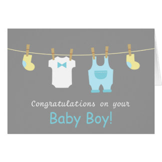 Elegant and Cute Baby Boy Clothes Card