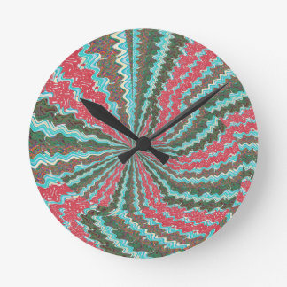 Elegant Artistic Waves Pattern Texture on Gifts 99 Round Clock