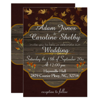 Elegant Autumn Golden Leaves Wedding Invitation