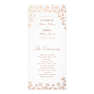 Elegant Autumn Leaves Faux Copper Wedding Program Custom Rack Card