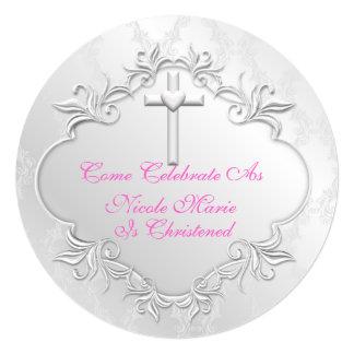 ELEGANT BABY GIRL  CHRISTENING ROUND Invitations