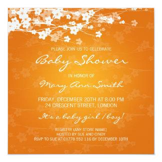 Elegant Baby Shower Cherry Blossom Orange 13 Cm X 13 Cm Square Invitation Card
