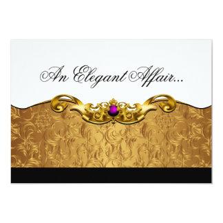 Elegant Baroque Black Tie Event (gold/amethyst) 13 Cm X 18 Cm Invitation Card