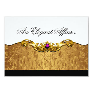 Elegant Baroque Black Tie Event (gold/amethyst) Personalized Announcement