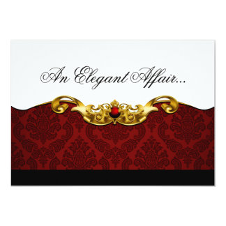 Elegant Baroque Black Tie Event (red) Card