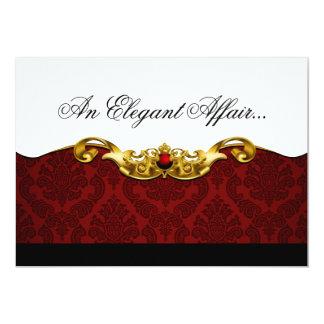 """Elegant Baroque Black Tie Event (red) 5"""" X 7"""" Invitation Card"""