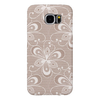 Elegant Beige Floral Lace Pattern Samsung Galaxy S6 Cases