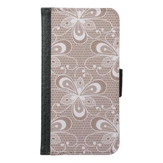Elegant Beige Floral Lace Pattern Samsung Galaxy S6 Wallet Case