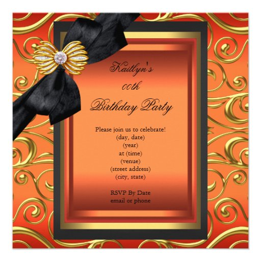 Elegant Birthday Party Black Damask Orange Gold Personalized Announcements