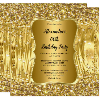 Elegant Birthday Party Gold Glitter Confetti Card