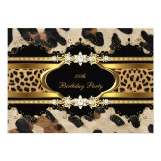 Elegant Birthday Party Leopard Gold Animal Personalized Invitation