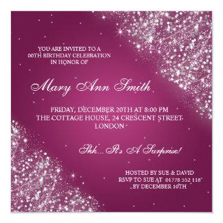 Elegant Birthday Party Sparkling Glitter Pink Personalized Invitations