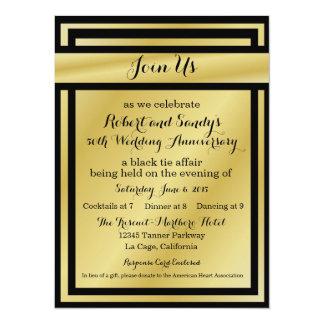 Elegant Black and Gold 50th Anniversary Invites