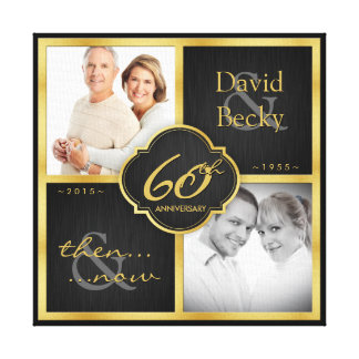 Elegant Black and Gold 60th wedding anniversary Canvas Print