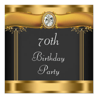 Elegant Black and Gold 70th Birthday Party 13 Cm X 13 Cm Square Invitation Card