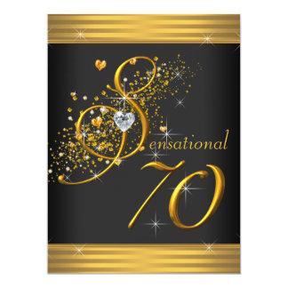 "Elegant Black and Gold 70th Birthday Party 6.5"" X 8.75"" Invitation Card"