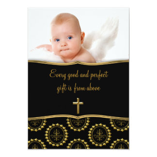 Elegant Black and Gold Baby Photo Christening 13 Cm X 18 Cm Invitation Card