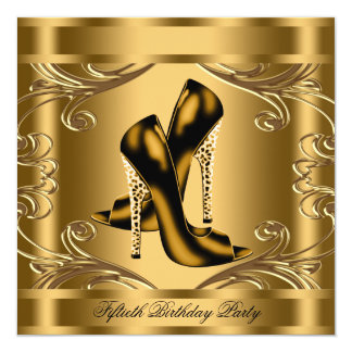 Elegant Black and Gold Birthday Party 13 Cm X 13 Cm Square Invitation Card