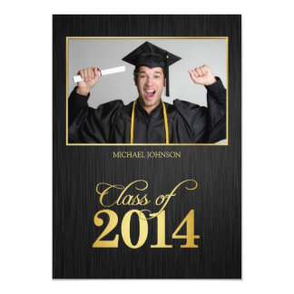 Elegant black and gold Class of 2014 Graduation 13 Cm X 18 Cm Invitation Card