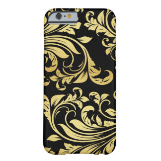 Elegant Black and Gold Damask floral pattern Barely There iPhone 6 Case