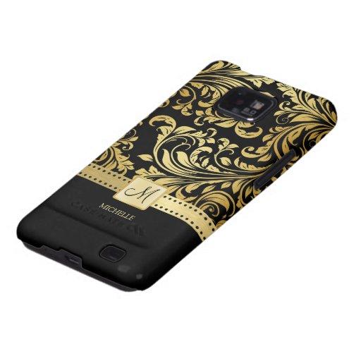 Elegant Black and Gold Damask wiht Monogram Galaxy SII Cover