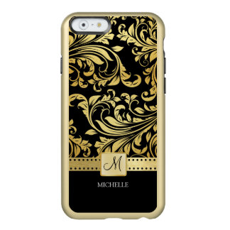 Elegant black and gold floral damask with monogram incipio feather® shine iPhone 6 case
