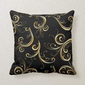 Elegant Black and Gold Floral Pattern Cushion
