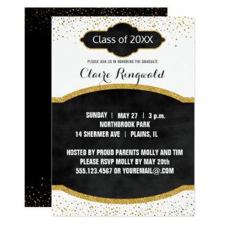 Elegant Black and Gold Glitter Graduation Party Card