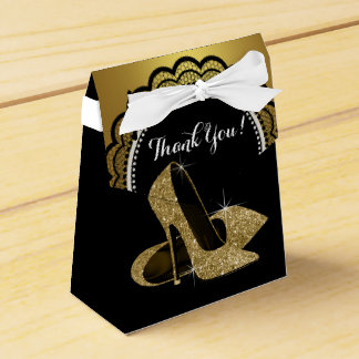 Elegant Black and Gold Glitter High Heel Shoe Favour Boxes