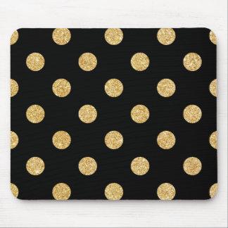 Elegant Black And Gold Glitter Polka Dots Pattern Mouse Pad