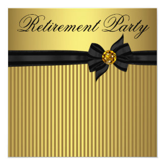 Elegant Black and Gold  Womans Retirement Party 13 Cm X 13 Cm Square Invitation Card