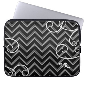 Elegant black and gray chevron and swirls monogram laptop sleeve