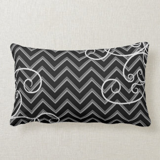Elegant black and gray chevron pattern with swirls lumbar cushion