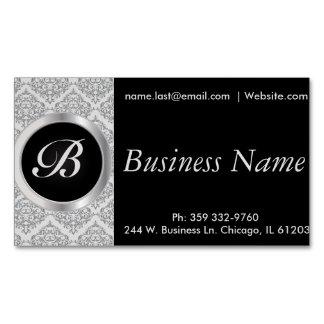 Elegant Black and Gray Damask Magnetic Business Card
