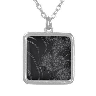 Elegant Black and Grey Fractal Pendants
