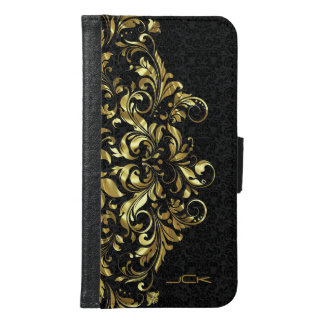 Elegant Black And Metallic Gold Girly Floral Lace Samsung Galaxy S6 Wallet Case
