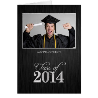 Elegant Black and Metallic Silver Class of 2014 Card