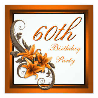 Elegant Black and Orange Tiger Lily Birthday Party Card