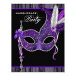 Elegant Black and Purple Masquerade Party 11 Cm X 14 Cm Invitation Card