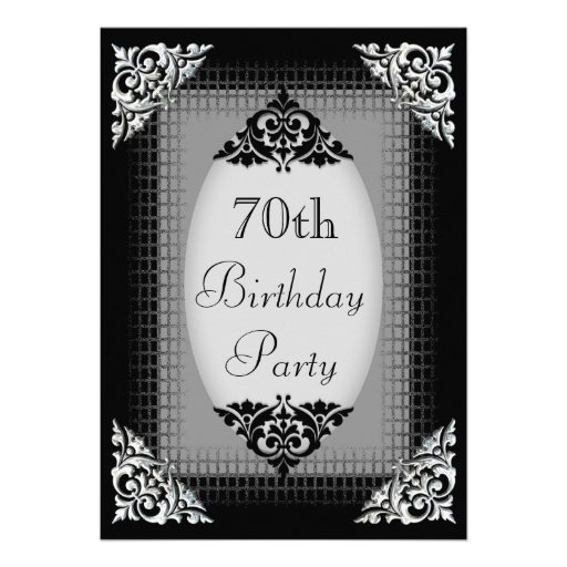 Elegant Black and Silver 70th Birthday Personalized Announcement