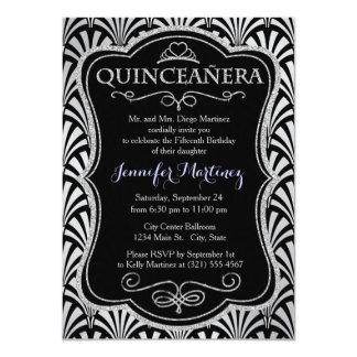Elegant Black and Silver Art Deco Invite