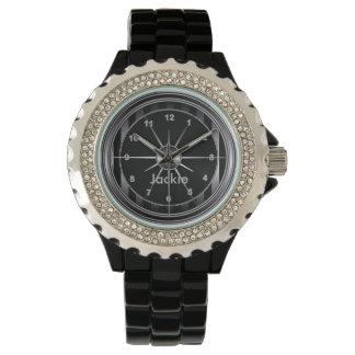 Elegant Black and Silver Pattern Print Watch