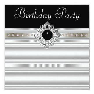 Elegant Black and Silver Womans Birthday Party 13 Cm X 13 Cm Square Invitation Card