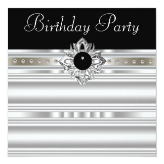 Elegant Black and Silver Womans Birthday Party 13 Cm X 13 Cm Square Invitation Card