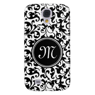 Elegant Black and White Damask Scroll Monogrammed Galaxy S4 Case