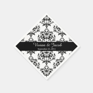 Elegant Black and White Damask Wedding Napkin Disposable Napkin